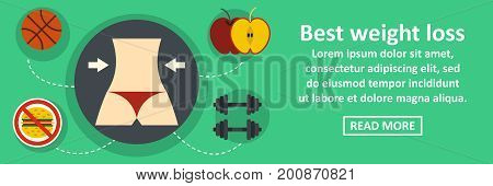 Best weight loss banner horizontal concept. Flat illustration of best weight loss banner horizontal vector concept for web