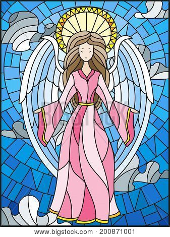 Illustration in the style of stained glass with a girl of angels on the background of cloudy sky