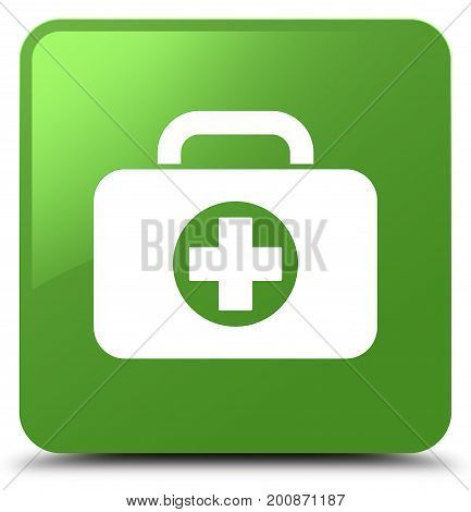 First Aid Kit Bag Icon Soft Green Square Button