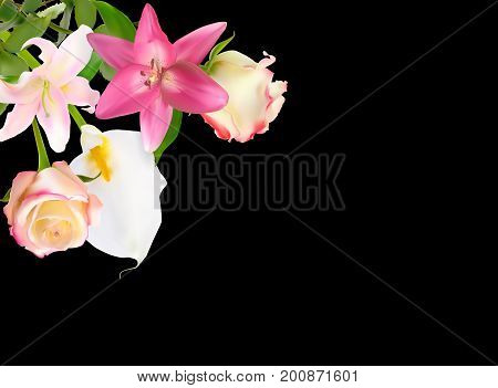 Vector Illustration with Pink Lily, Calla and Roses Isolated on Black Background EPS10