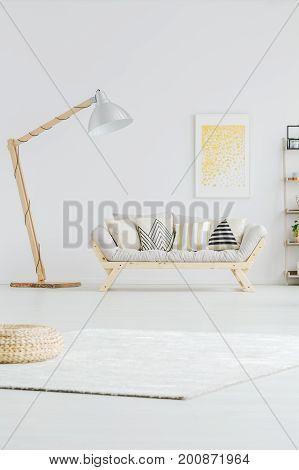 Designed Lamp Next To Sofa