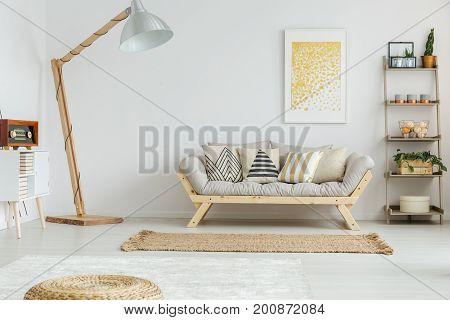 Spacious, White Living Room