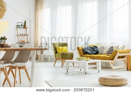 Living Room With Table On Wheels
