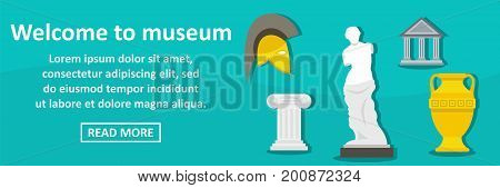 Welcome to museum banner horizontal concept.Flat illustration of welcome to museum banner horizontal vector concept for web