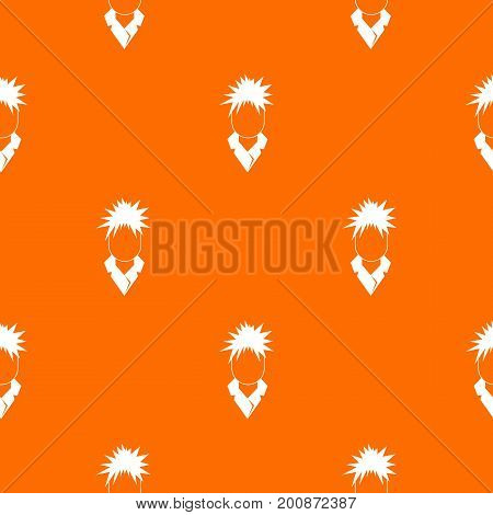 Singer pattern repeat seamless in orange color for any design. Vector geometric illustration