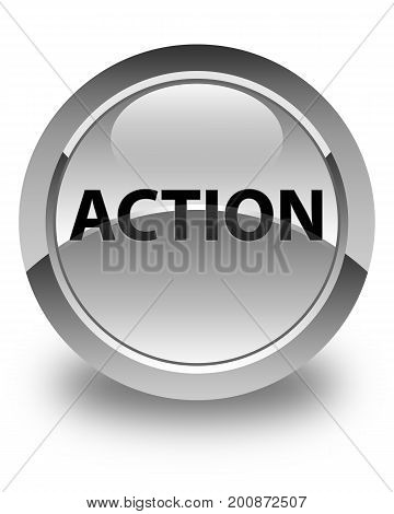 Action Glossy White Round Button