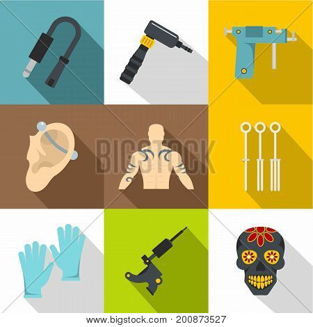 Tattoo store icons set. Flat set of 9 tattoo store vector icons for web with long shadow