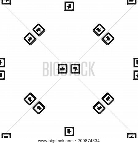 Signs hand up and down in squares pattern repeat seamless in black color for any design. Vector geometric illustration
