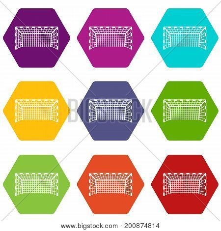 Goal post icon set many color hexahedron isolated on white vector illustration