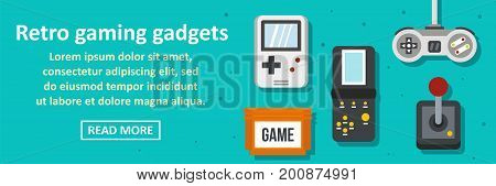 Retro gaming gadgets banner horizontal concept. Flat illustration of retro gaming gadgets banner horizontal vector concept for web