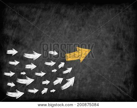 arrow with many followed arrows for trend leader or leadership concept.
