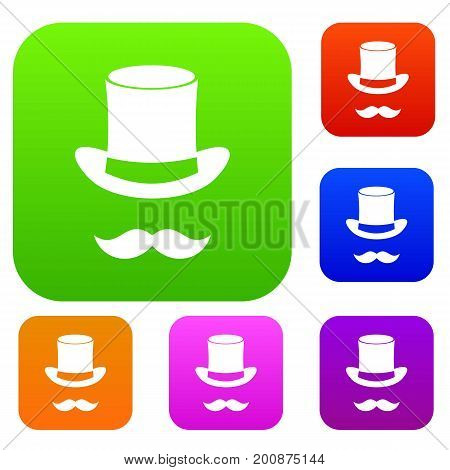 Magic black hat and mustache set icon in different colors isolated vector illustration. Premium collection