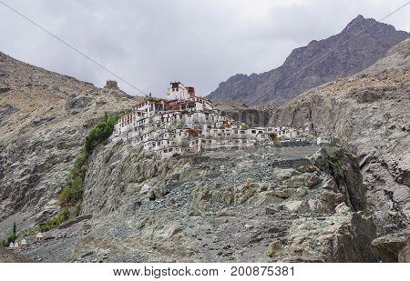 Tibetan Temple On Mountain In Ladakh, India