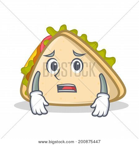 Afraid sandwich character cartoon style vector illustration