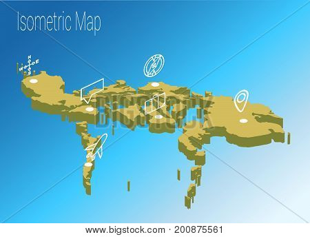Map Philippines isometric concept. 3d flat illustration of Map Philippines.