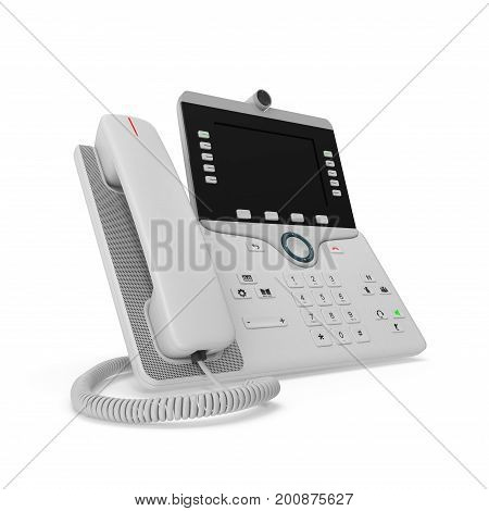 IP phone on a white background. 3D illustration