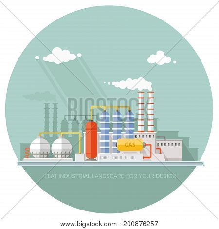 Gas storage spheres tank in petrochemical plant. Extraction and processing of liquefied gas. factory station on the background of the urban landscape. flat icon