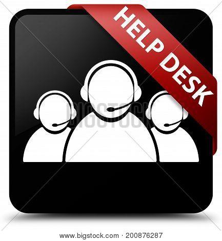 Help Desk (customer Care Team Icon) Black Square Button Red Ribbon In Corner