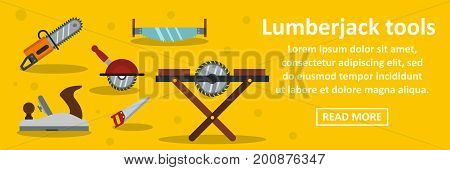 Lumberjack tools banner horizontal concept. Flat illustration of lumberjack tools banner horizontal vector concept for web