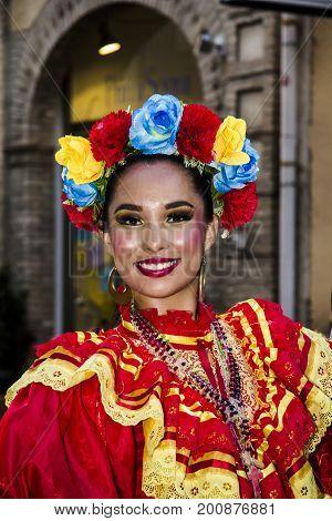 QUARTU S.E., ITALY - JULY 18, 2015: 29 Sciampitta - International Folklore Festival - Sardinia (Fiesta Mexicana folklore festival in Monterrey - Mexico)