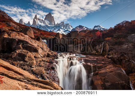 Beautiful view with waterfall and Fitz Roy mountain. Patagonia, Argentina.