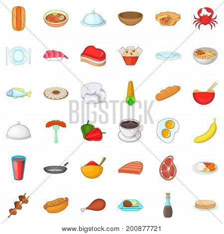 Dish icons set. Cartoon style of 36 dish vector icons for web isolated on white background