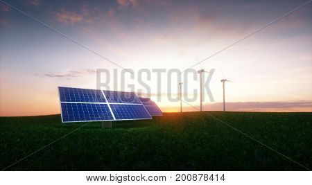 Renewable Energy Concept - Photovoltaics And Wind Turbines On A Grass Filed In The Morning. 3D Illus