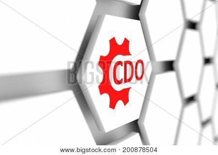 CDO concept wheel gear blurred background 3D illustration