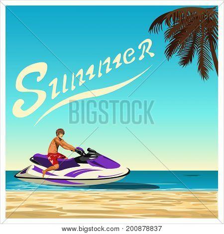 A man rides his jet ski through the sea along tropical beach. Flat design. Vector illustration.
