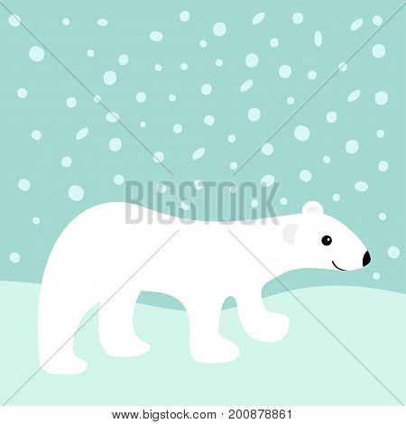 Arctic polar white bear cub. Cute cartoon baby character. Snowdrift. Flat design. Winter blue background with snow flake. Vector illustration