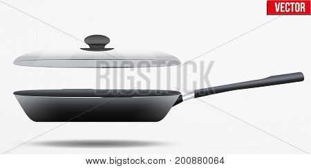 Classic Metal black non-stick frying pan with glass lid and handle. Side view and round shape. Kitchen and domestic symbol. Vector Illustration isolated on background.
