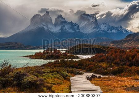 Beautiful autumn in Torres del Paine, Chile.