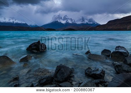 Storm on Lake Pehoe in the autumn. Torres del Paine, Argentina.