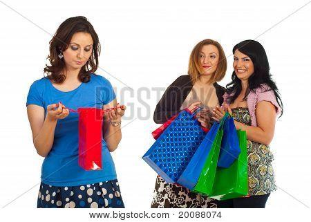Sad Woman Of Small Shopping Bag