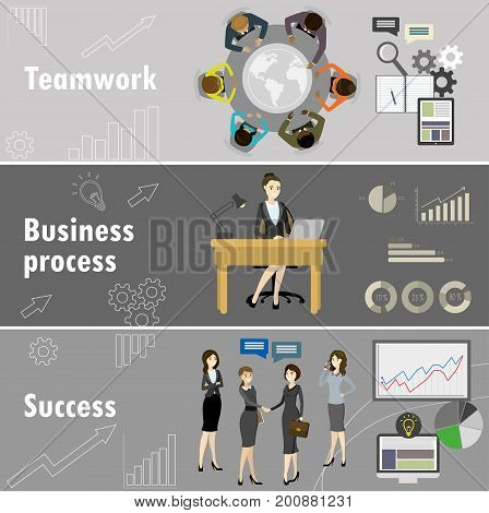 Flat Banner Set With Teamwork, Business Process And Success.