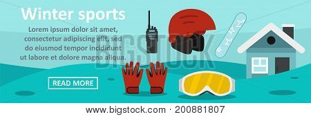 Winter sports banner horizontal concept. Flat illustration of winter sports banner horizontal vector concept for web