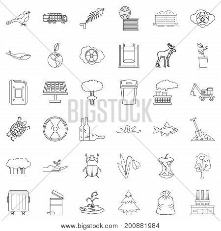 Garbage icons set. Outline style of 36 garbage vector icons for web isolated on white background