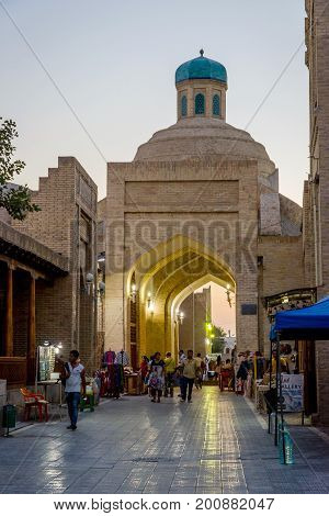 Street In Bukhara Old Town In Twilight