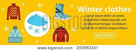 Winter clothes banner horizontal concept. Flat illustration of winter clothes banner horizontal vector concept for web