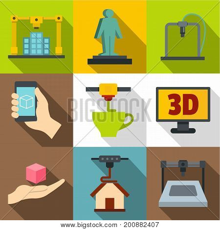 Creation on a 3d machine icons set. Flat set of 9 creation on a 3d machine vector icons for web with long shadow