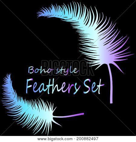 Feather set. A bright poster of neon feathers. Boho style