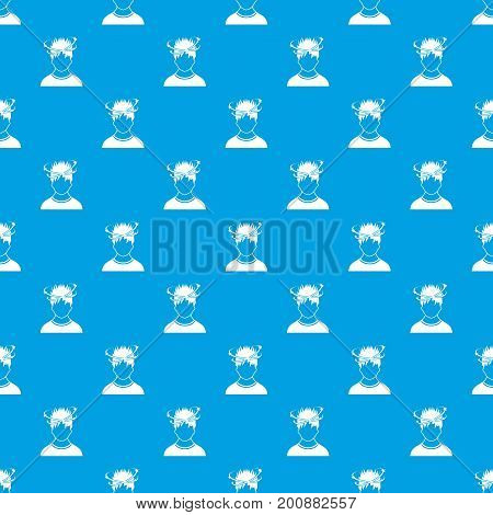 Man with dizziness pattern repeat seamless in blue color for any design. Vector geometric illustration