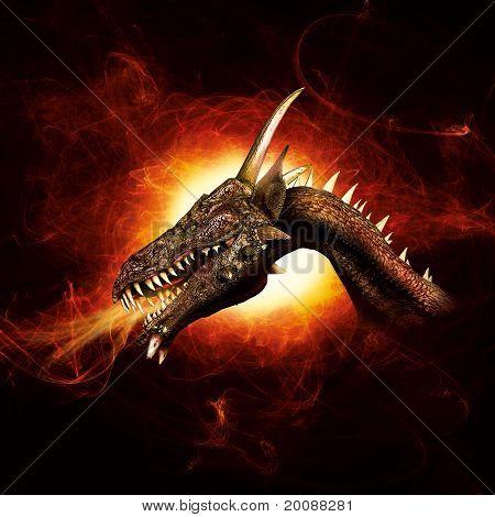 Dragon in plasma flames