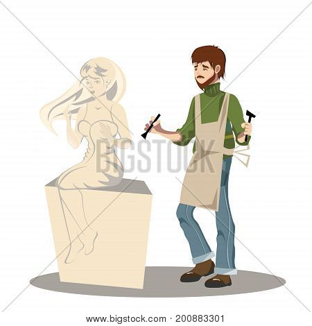 Young man sculptor working on his sculpture. Vector illustration
