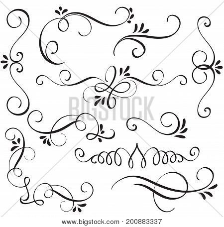 set of calligraphy flourish art with vintage decorative whorls for design. Vector illustration EPS10.