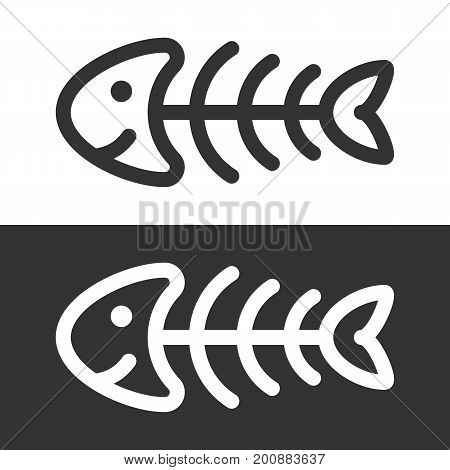 Funny fish skeleton icon. Vector illustration isolated on white and dark background