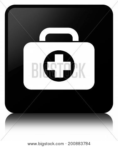 First Aid Kit Bag Icon Black Square Button