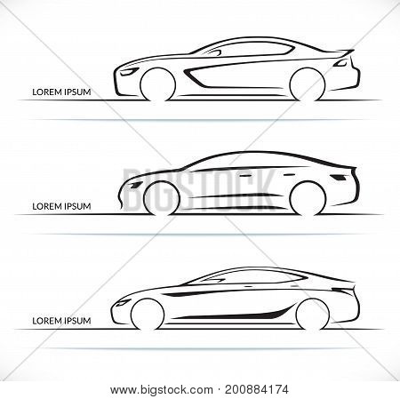 Set of luxury car silhouettes. Side view of four-door sedan. Vector illustration
