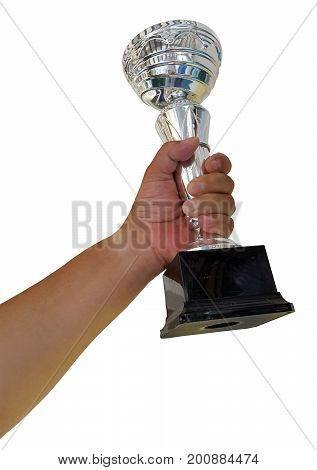 Hand Holding Trophy Cup