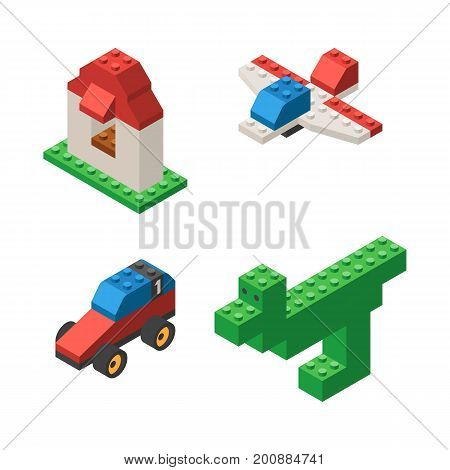 Toys built from children's designer, plastic blocks: dinosaur, house, airplane and car. Isometric vector illustration isolated on white background